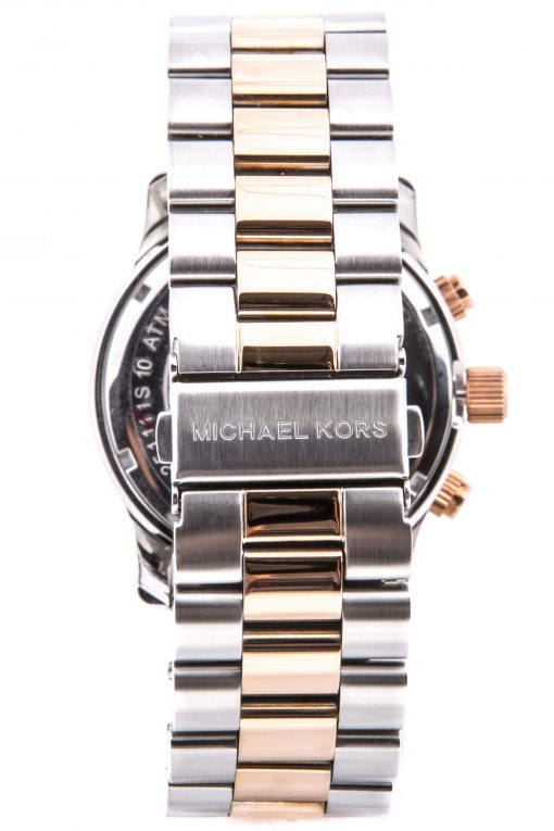 Michael Kors Runway Oversized Two-Tone Silver/Rose Gold Chronograph Watch MK8176