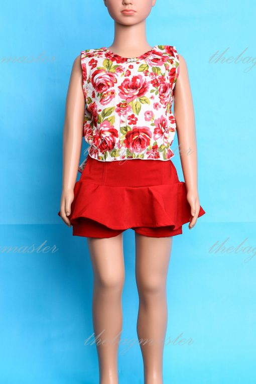 JSOFIA Floral backless cropped top - Red