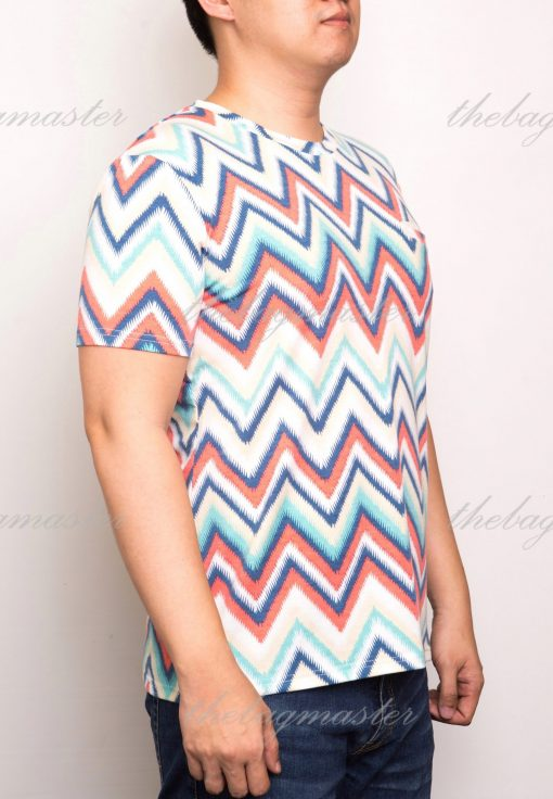 Peppered Gravy Zig Zag Multicolor Printed T-Shirt - Large