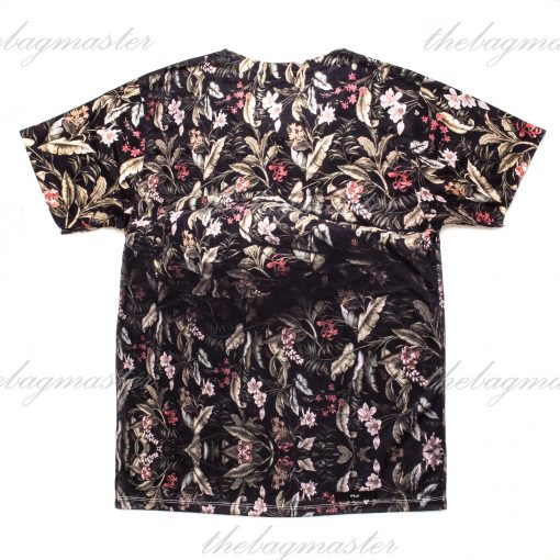 Peppered Gravy Tropical Plumeria Flowers Printed T-Shirt - Small