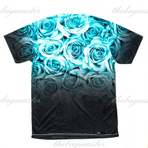 Peppered Gravy Teal Rose Ombre Printed T-Shirt - Large