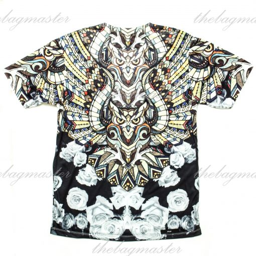 Peppered Gravy Stained Glass Owl Printed T-Shirt - Large