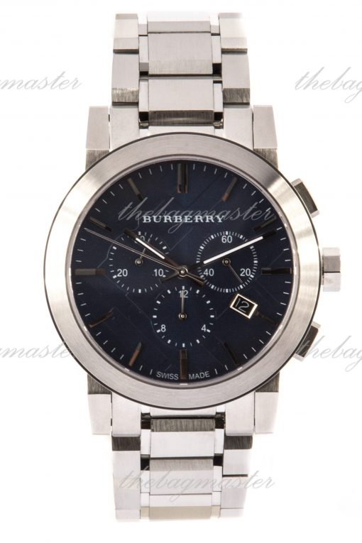 Burberry The City Swiss Blue Dial Stainless Steel Chronograph Watch BU9363