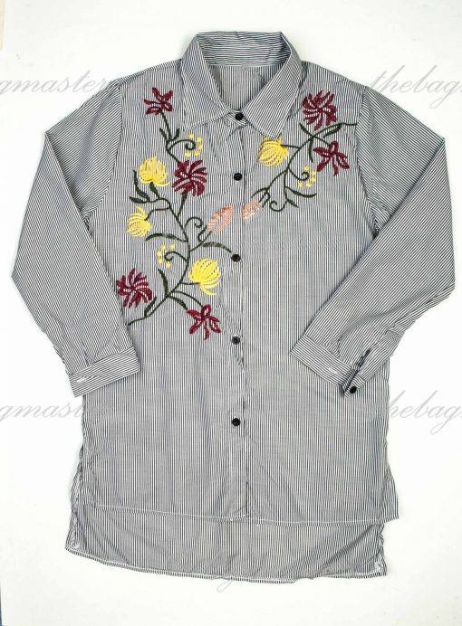 Thefashionbuddy101- Stripes Button-down with Top Floral Embroidery- Black