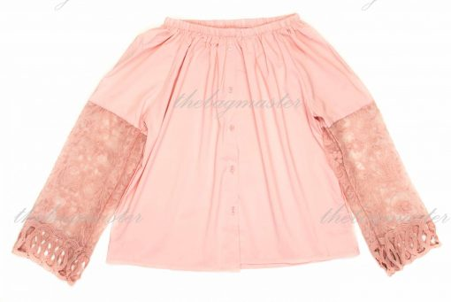 Thefashionbuddy101- Off-shoulder Top with Lacy Long Sleeves- Pink