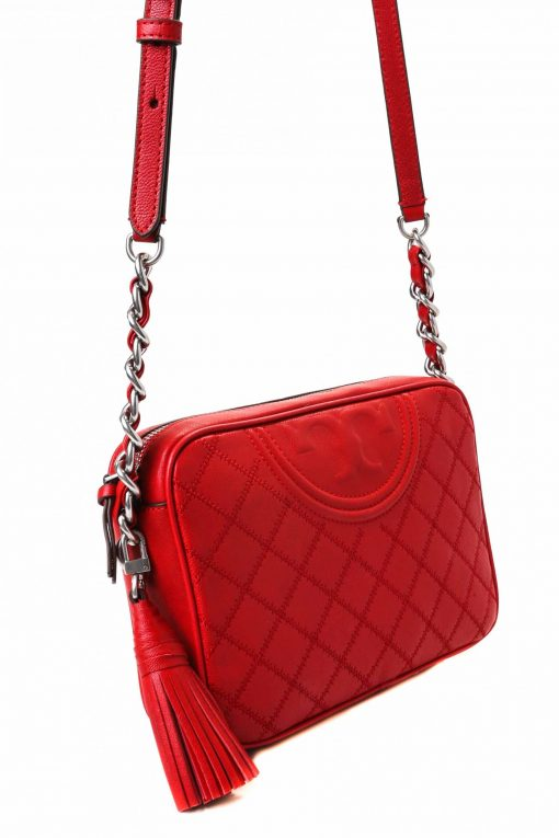 Tory Burch Fleming Distressed Leather Camera Bag - Red