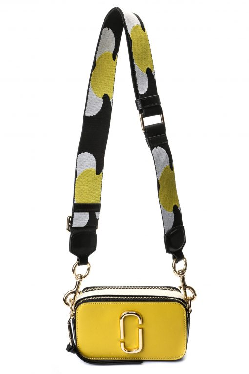 Marc Jacobs Snapshot Camera Bag - Yellow / White / Black with Floral Strap