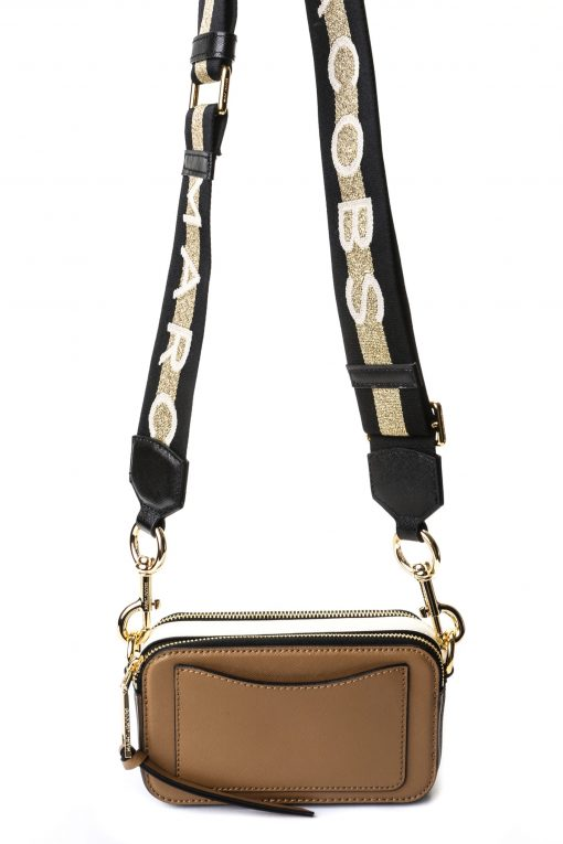 Marc Jacobs Snapshot Camera Bag - French Gray / White with Logo Strap