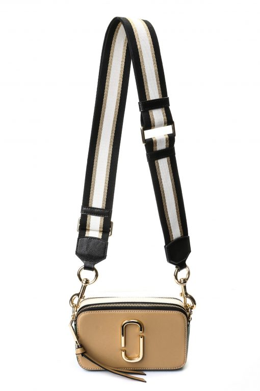 Marc Jacobs Snapshot Camera Bag - Beige/ Green with Stripe Strap