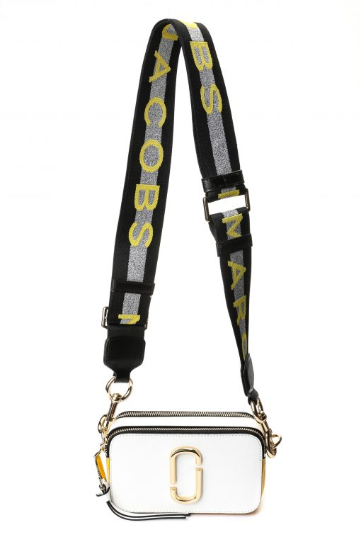 Marc Jacobs Snapshot Camera Bag - Silver/White/Yellow with Logo Strap