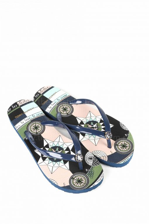 Tory Burch Printed-strap Thin Flip-Flop  - Navy Constellation Size 7