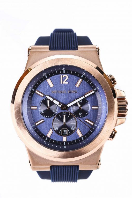 Michael Kors Men's Rose Goldtone Dylan Watch with Navy Silicone Strap - MK 8295