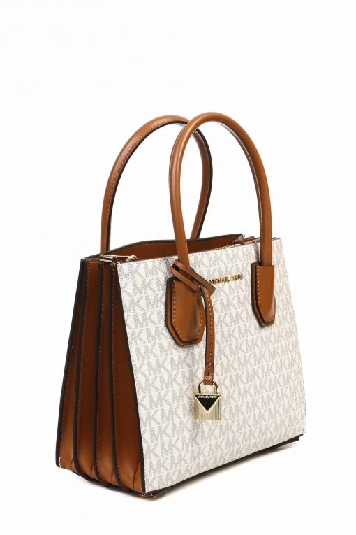 Michael Kors Mercer Small Pebbled Leather Tote - White