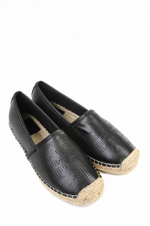 Tory Burch Perforated Logo Leather Espedrille Flat - Black