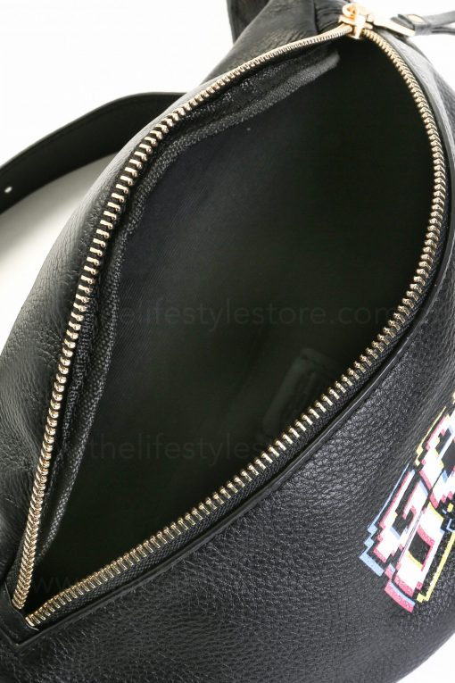 Coach Women Fanny Pack Pac-Man Game Over Leather Belt Bag - Black