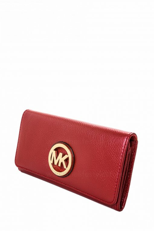 Michael Kors MK Fulton Flap Continental Leather Wallet - Cherry Red