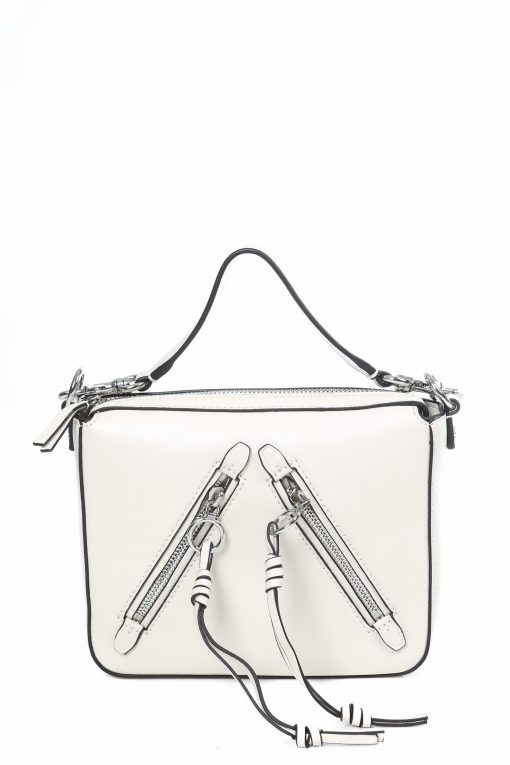 Tory Burch Zip-detailed Leather Shoulder Bag - Ivory