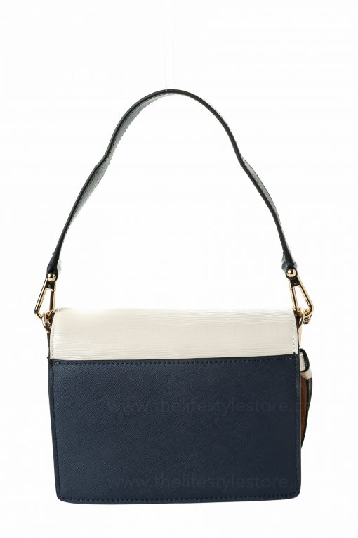 Tory Burch Robinson Mixed-Material Shoulder - White/Brown/Navy Blue