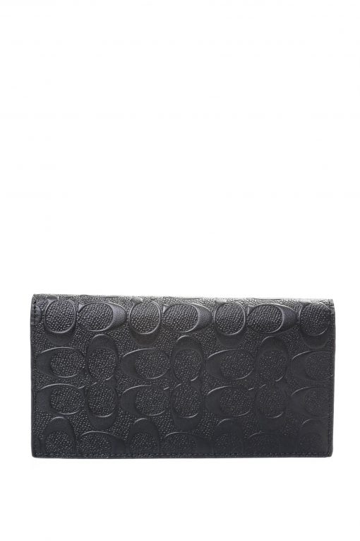 Coach Breast Pocket Wallet In Signature Leather - Black