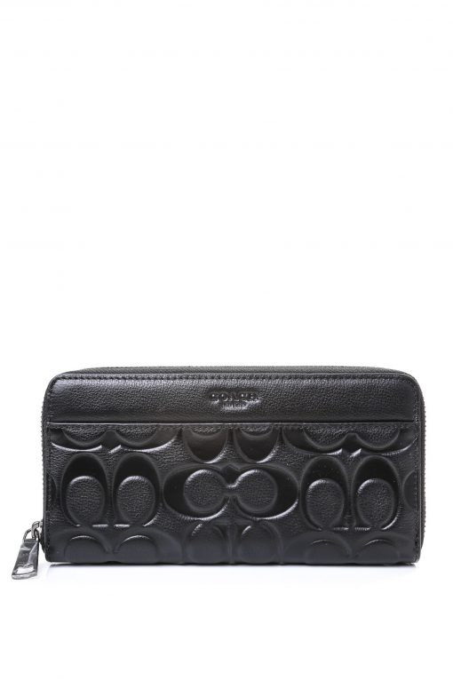 Coach Signature Embossed Leather Accordion Zip Around Long Wallet - Black