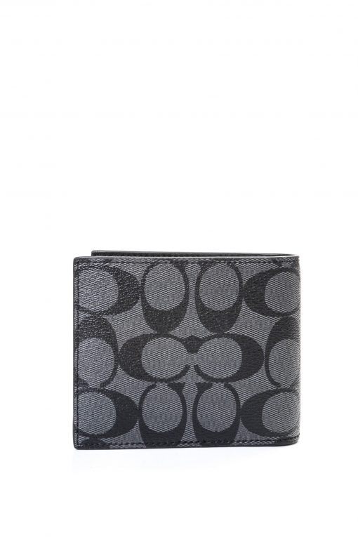 Coach Mens 3 In 1 Signature Canvas Leather Bifold Id Wallet - Black