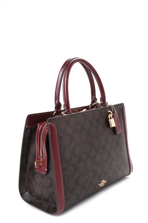 Coach Signature Zoe Carryall with Patent Leather Trim - Brown/Wine