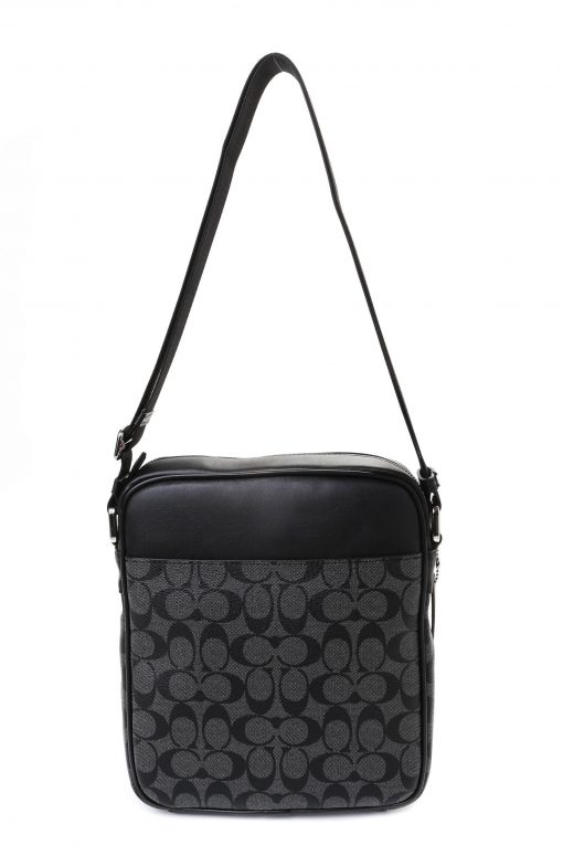 Coach Charles in Signature Canvas Flight Bag - Charcoal/Black