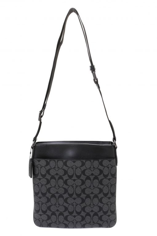 Coach Charles Crossbody In Signature Canvas With Varsity Stripe - Charcoal/Black