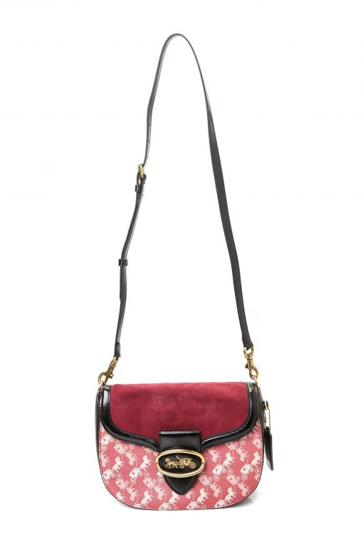 Coach Kat Saddle Bag With Horse And Carriage Print - Deep Red
