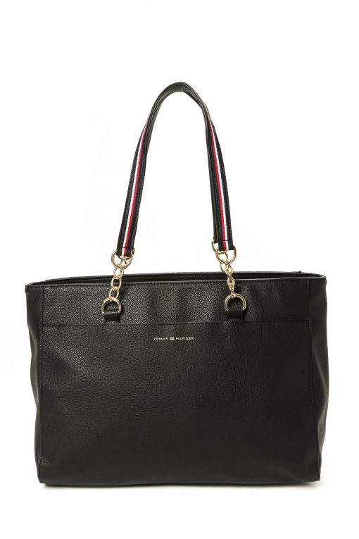 Tommy Hilfiger Leather Easy Tote - Black