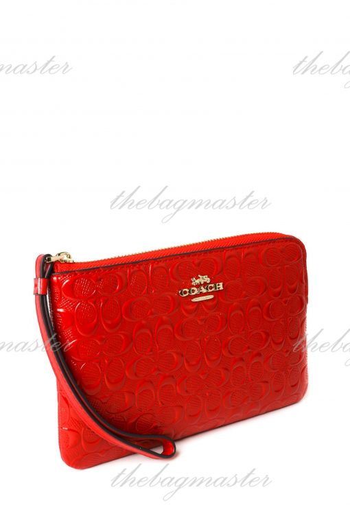 Coach Wristlet In Debossed Leather - Red