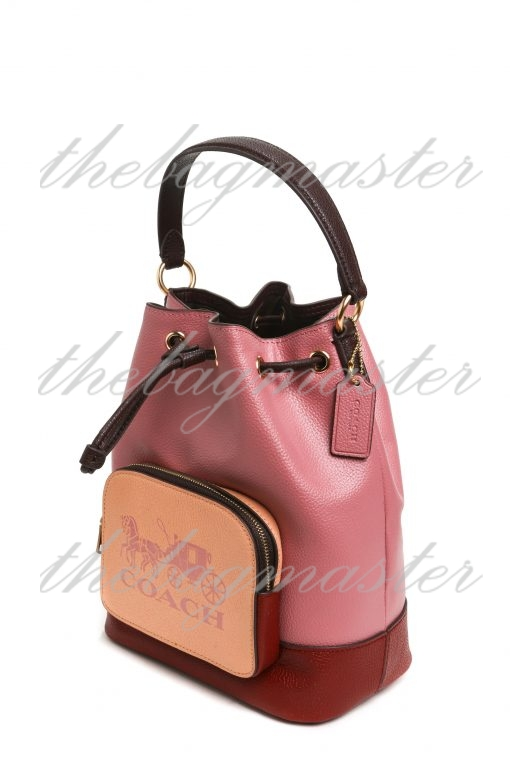 Coach Jes Drawstring Bucket Bag In Colorblock With Horse And Carriage