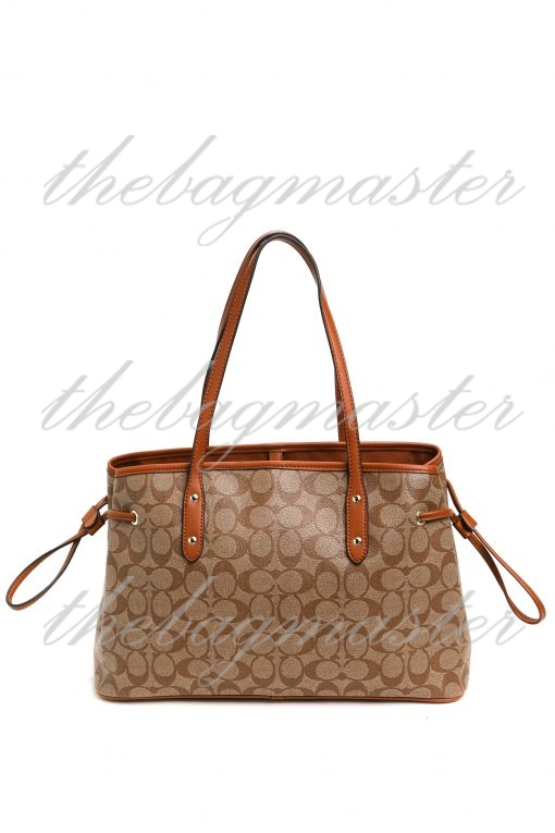 Coach Drawstring Carryall In Signature Canvas - Brown