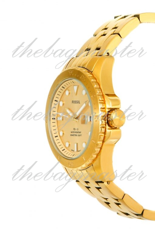 Fossil FB-01 Three-Hand Date Gold-Tone Stainless Steel Watch ES4745