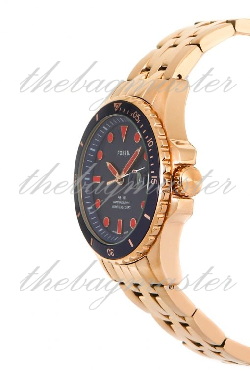 Fossil FB-01 Three-Hand Date Rose Gold-Tone Stainless Steel Watch ES4767