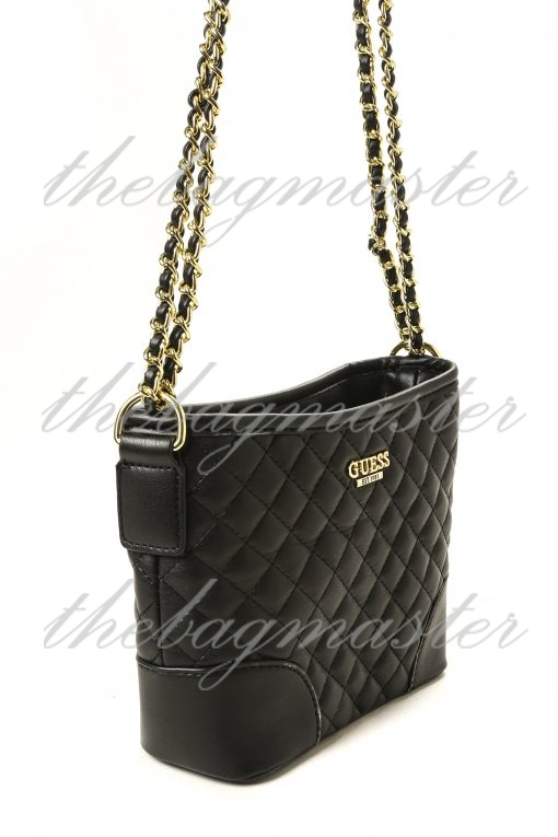 Guess Kris Quilted Small Hobo Bag - Black