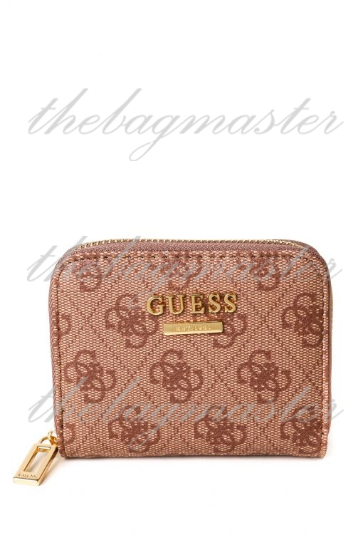 Guess Cathleen Small Leather Zip Around Wallet - Brown