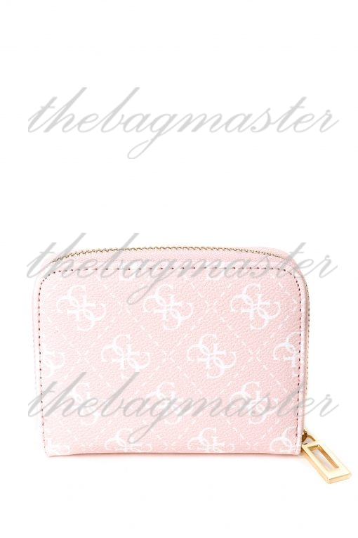 Guess Cathleen Small Leather Zip Around Wallet - Pink