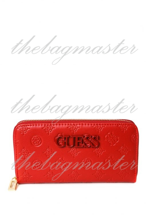 Guess Leather Zip Around Wallet - Red