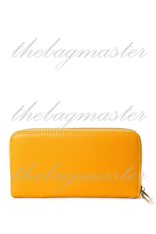 Guess Leather Zip Around Wallet - Yellow