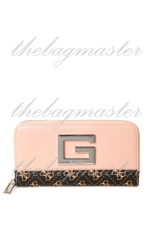 Guess Leather Zip Around Wallet - Pink/Brown