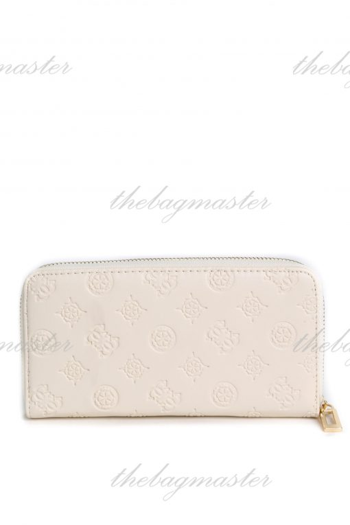 Guess Leather Zip Around Wallet - White