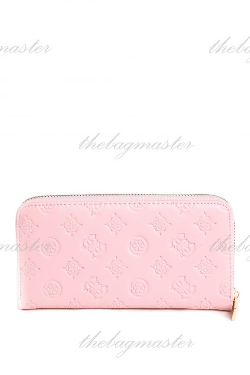 Guess Leather Zip Around Wallet - Pink