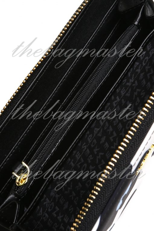 Kate Spade New York Zip Around Continental Wallet - Black and White Floral