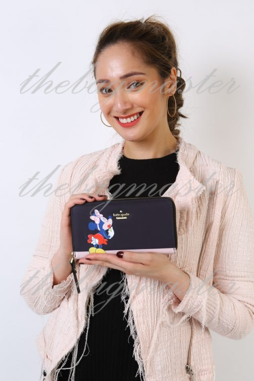 Kate Spade New York Zip Around Continental Wallet - Minnie Mouse Navy/Pink