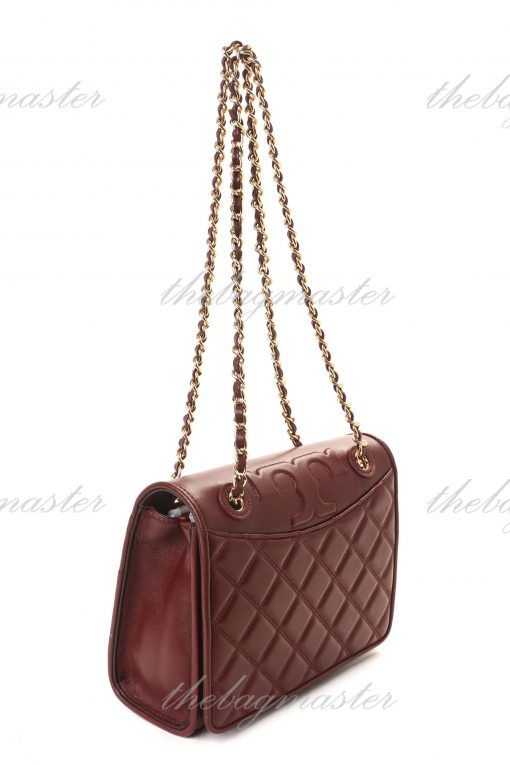 Tory Burch Fleming Small Leather Shoulder Bag - Imperial Garnet