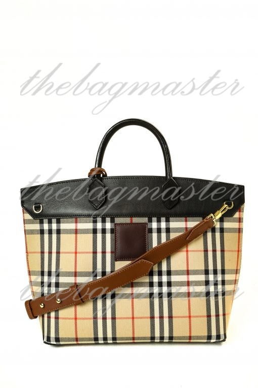 Burberry Small Society Vintage Check Canvas & Leather Top Handle Bag