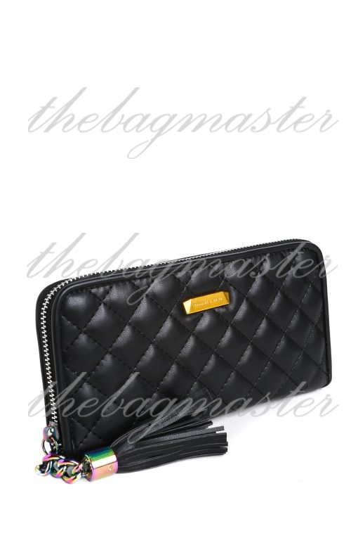 Charles & Keith Leather Quilted Tassel Clutch Wallet - Black