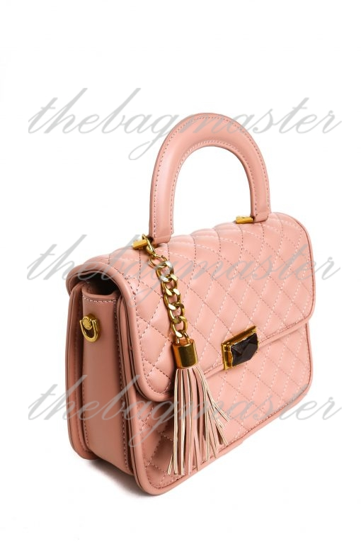 Charles & Keith Quilted Tassel Handle Bag with Sling - Pink