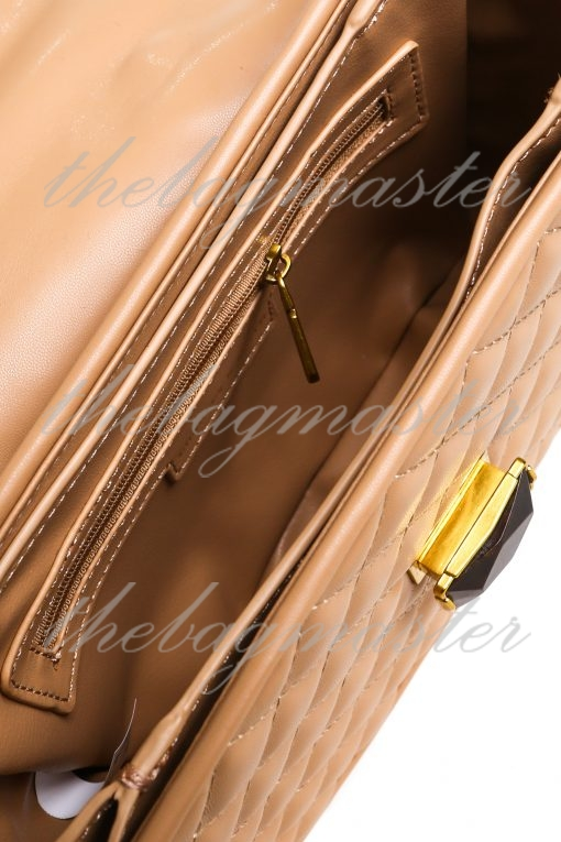 Charles & Keith Quilted Tassel Handle Bag with Sling - Beige